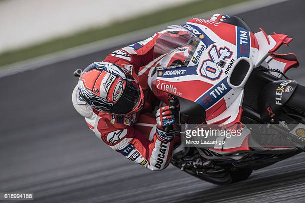 Andrea Dovizioso of Italy and Ducati Team rounds the bend during the MotoGP Of Malaysia Qualifying at Sepang Circuit on October 29 2016 in Kuala...
