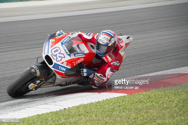 Andrea Dovizioso of Italy and Ducati Team rounds the bend during the MotoGP Tests In Sepang at Sepang Circuit on February 1 2017 in Kuala Lumpur...