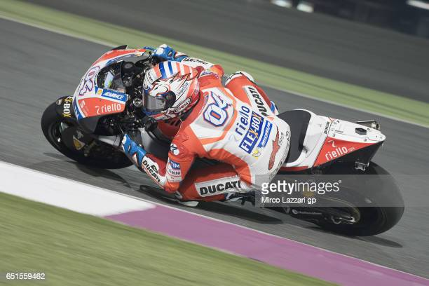 Andrea Dovizioso of Italy and Ducati Team rounds the bend during the MotoGP Tests In Losail at Losail Circuit on March 10 2017 in Doha Qatar