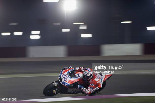 Andrea Dovizioso of Italy and Ducati Team rounds the bend during the MotoGP Tests In Losail at Losail Circuit on March 11 2017 in Doha Qatar