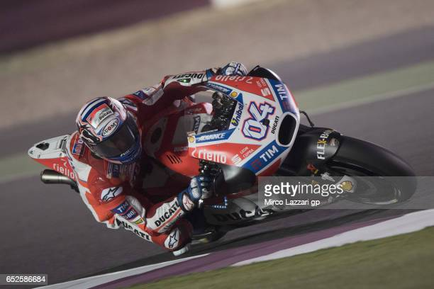 Andrea Dovizioso of Italy and Ducati Team rounds the bend during the MotoGP Tests In Losail at Losail Circuit on March 12 2017 in Doha Qatar