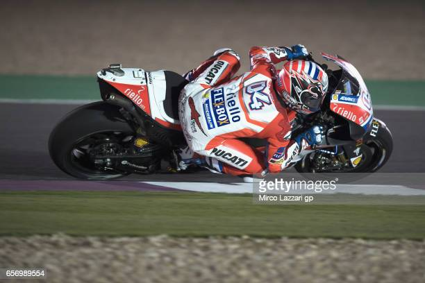 Andrea Dovizioso of Italy and Ducati Team rounds the bend during the MotoGp of Qatar Free Practice at Losail Circuit on March 23 2017 in Doha Qatar