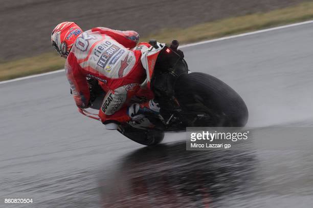 Andrea Dovizioso of Italy and Ducati Team rounds the bend during the MotoGP of Japan Free Practice at Twin Ring Motegi on October 13 2017 in Motegi...