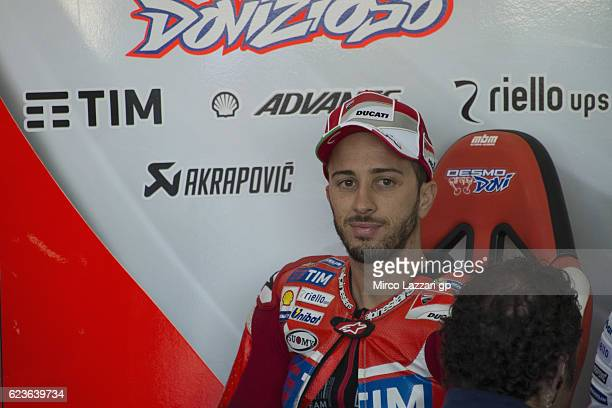 16 Andrea Dovizioso of Italy and Ducati Team smiles in box during the MotoGp Tests In Valencia at Ricardo Tormo Circuit on November 16 2016 in...