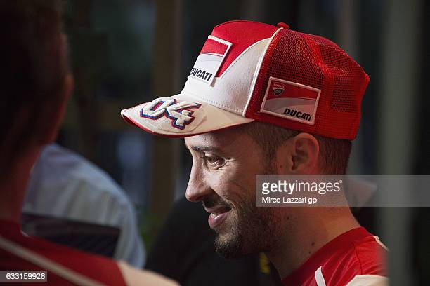 Andrea Dovizioso of Italy and Ducati Team smiles in paddock during the MotoGP Tests In Sepang at Sepang Circuit on January 31 2017 in Kuala Lumpur...