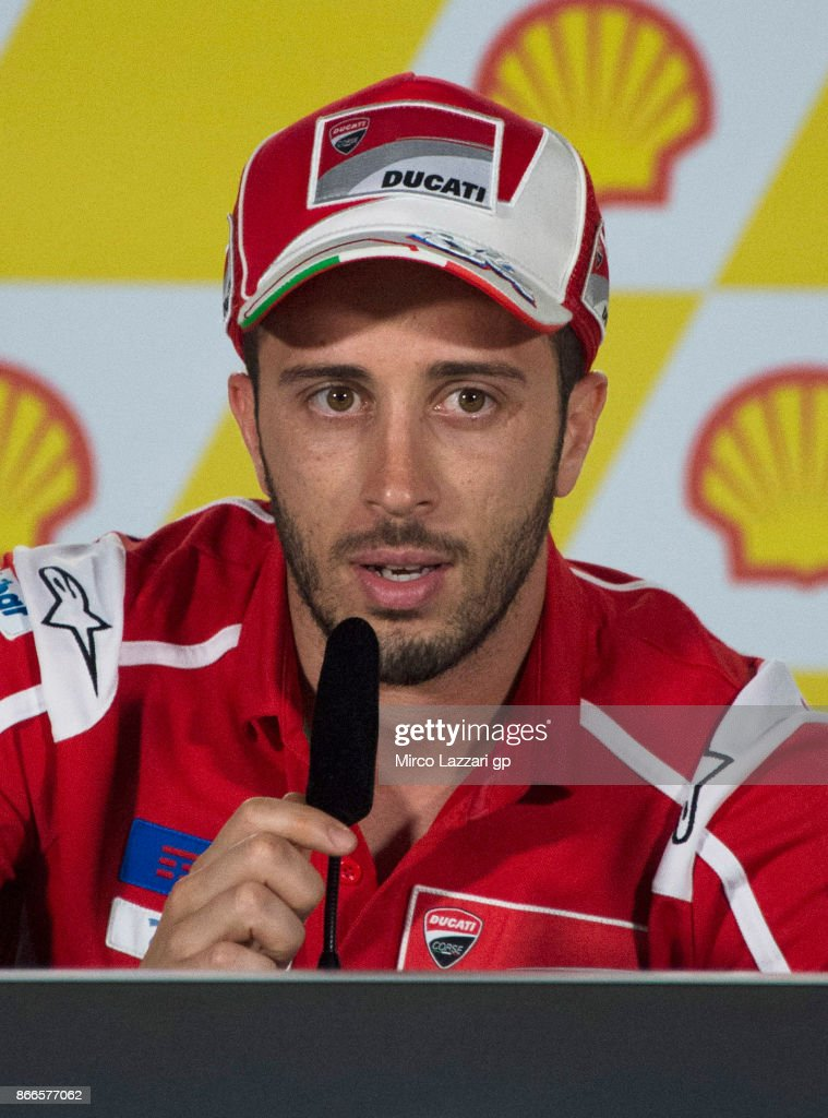 Andrea Dovizioso of Italy and Ducati Team speaks during a press conference ahead of the MotoGP of Malaysia at Sepang Circuit on October 26, 2017 in Kuala Lumpur, Malaysia.