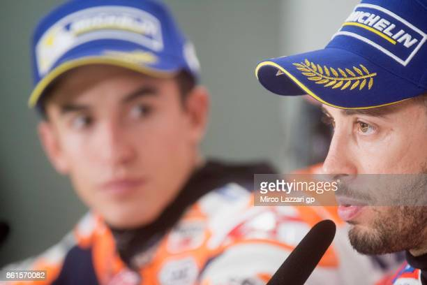 Andrea Dovizioso of Italy and Ducati Team speaks during the press conference at the end of the MotoGP race during the MotoGP of Japan Race at Twin...