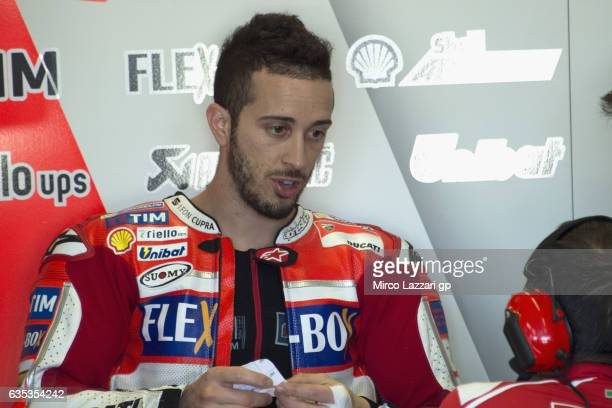 Andrea Dovizioso of Italy and Ducati Team speaks in box during 2017 MotoGP preseason testing at Phillip Island Grand Prix Circuit on February 15 2017...