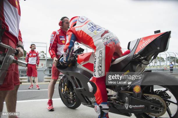 Andrea Dovizioso of Italy and Ducati Team starts from box during 2017 MotoGP preseason testing at Phillip Island Grand Prix Circuit on February 17...