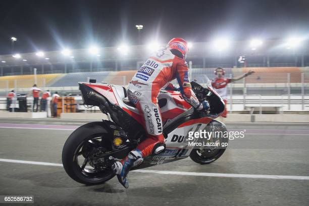 Andrea Dovizioso of Italy and Ducati Team starts from box during the MotoGP Tests In Losail at Losail Circuit on March 12 2017 in Doha Qatar