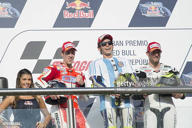 Andrea Dovizioso of Italy and Ducati Team Valentino Rossi of Italy and Movistar Yamaha MotoGP and Cal Crutchlow of Great Britain and CWM LCR Honda...