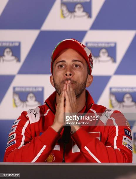 Andrea Dovizioso of Italy and rider of the Ducati Team Ducati looks on during a press conference ahead of the 2017 MotoGP of Australia at Phillip...