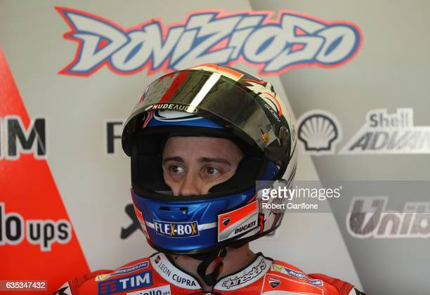 Andrea Dovizioso of Italy and the Ducati Team is seen in the pit garage during 2017 MotoGP preseason testing at Phillip Island Grand Prix Circuit on...