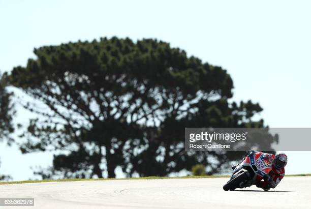 Andrea Dovizioso of Italy and the Ducati Team rides during 2017 MotoGP preseason testing at Phillip Island Grand Prix Circuit on February 15 2017 in...