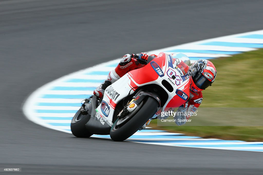 <a gi-track='captionPersonalityLinkClicked' href=/galleries/search?phrase=Andrea+Dovizioso&family=editorial&specificpeople=559970 ng-click='$event.stopPropagation()'>Andrea Dovizioso</a> of Italy and the Ducati team rides during free practice for the 2015 MotoGP of Australia at Phillip Island Grand Prix Circuit on October 16, 2015 in Phillip Island, Australia.