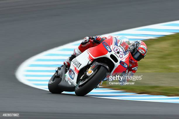 Andrea Dovizioso of Italy and the Ducati team rides during free practice for the 2015 MotoGP of Australia at Phillip Island Grand Prix Circuit on...