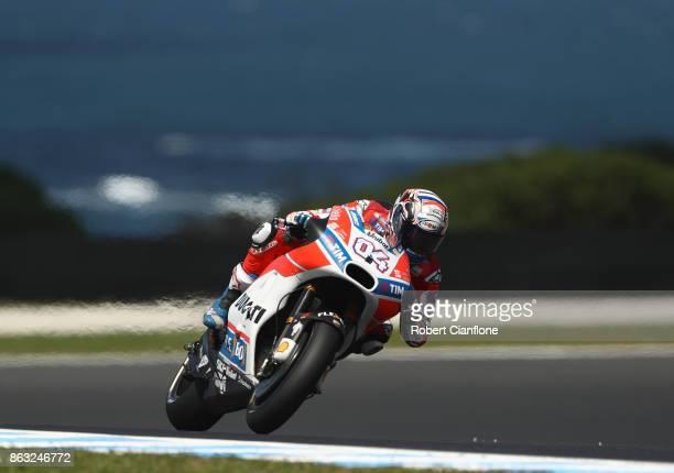 Andrea Dovizioso of Italy rides the Ducati Team Ducati during free practice for the 2017 MotoGP of Australia at Phillip Island Grand Prix Circuit on...