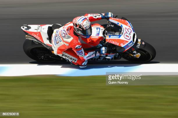 Andrea Dovizioso of Italy rides the Ducati Team during free practice for the 2017 MotoGP of Australia at Phillip Island Grand Prix Circuit on October...