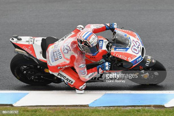 Andrea Dovizioso of Italy rides the Ducati Team during practise ahead of qualifying for the 2017 MotoGP of Australia at Phillip Island Grand Prix...