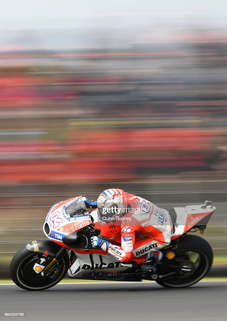 Andrea Dovizioso of Italy rides the #4 Ducati Team during qualifying for the 2017 MotoGP of Australia at Phillip Island Grand Prix Circuit on October 21, 2017 in Phillip Island, Australia.