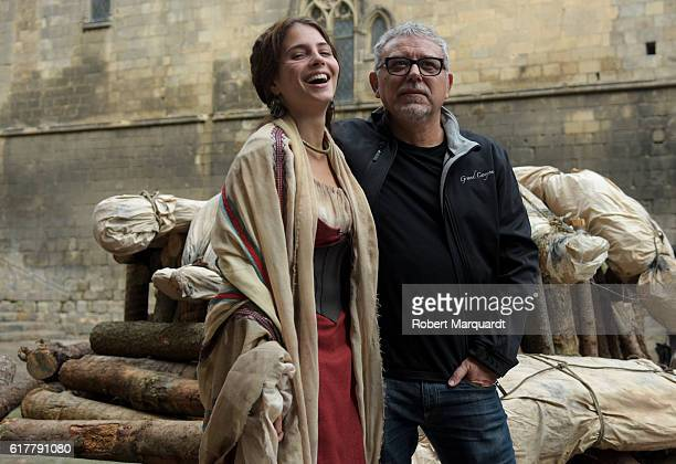 Andrea Duro and Director Jordi Frades pose on the set of their new TV series 'La Catedral del Mar' on October 24 2016 in Barcelona Spain