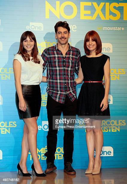Andrea Duro Eduardo Noriega and Alexandra Jimenez attend 'Los Miercoles No Existen' photocall on October 14 2015 in Madrid Spain