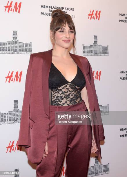 Andrea Duro poses during a photocall for the new HM flagship store opening on February 1 2017 in Barcelona Spain