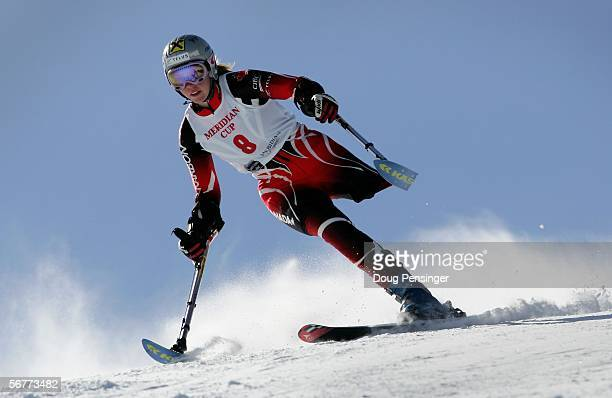 Andrea Dziewior of Canada competes in the Women's Standing Skier Super G at the Disabled Alpine Skiing Meridian Cup February 7 2006 in Winter Park...