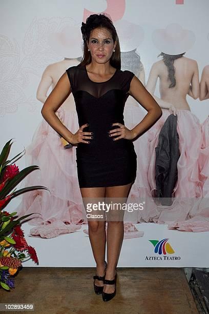 Andrea Escalona poses for a photograph at the red carpet of Cinco Mujeres Usando el Mismo Vestido at Telon de Asfalto Theater on July 13 2010 in...