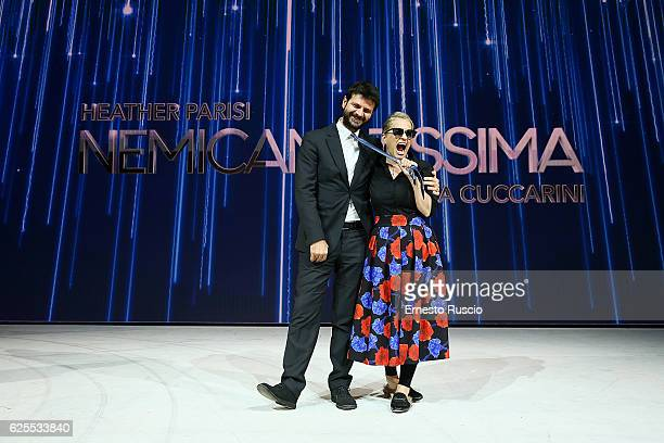 Andrea Fabiano and Heather Parisi attend 'Nemicamatissima' tv show presentation at Studio 5 of Cinecitta on November 24 2016 in Rome Italy
