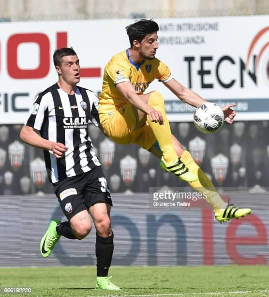Andrea Favilli of Ascoli Picchio FC and Lorenzo Ariaudo of Ascoli Picchio FC in action during the Serie B match between Ascoli Picchio FC and...