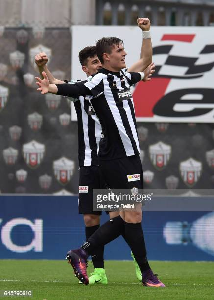 Andrea Favilli of Ascoli PIcchio FC celebrates after scoring the opening goal during the Serie B match between Ascoli Picchio FC and AC Pisa at...