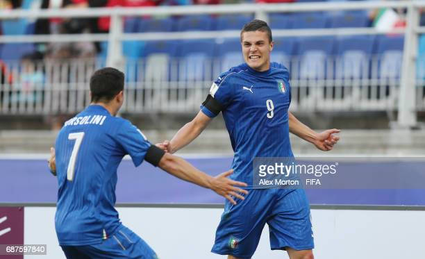 Andrea Favilli of Italy celebrates after scoring their second goal during the FIFA U20 World Cup Korea Republic 2017 group D match between South...