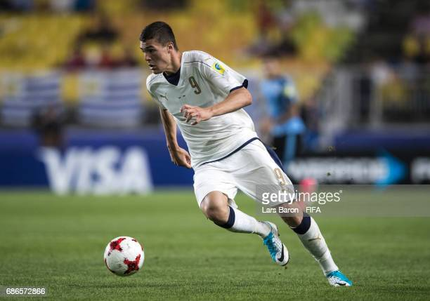 Andrea Favilli of Italy runs with the ball during the FIFA U20 World Cup Korea Republic 2017 group D match between Italy and Uruguay at Suwon World...