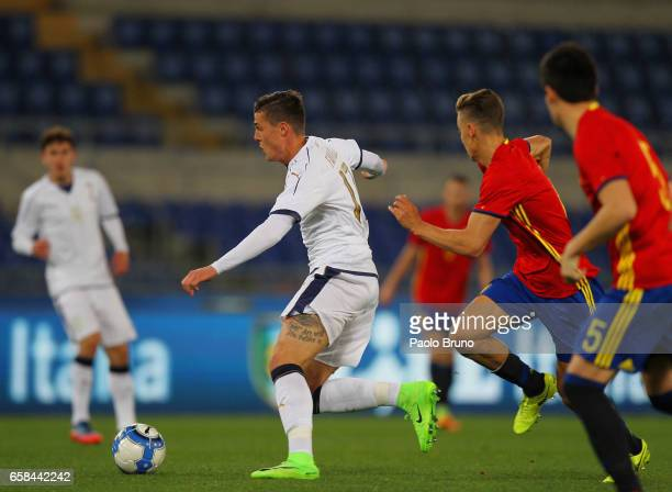 Andrea Favilli of Italy U21 in action during the international friendly match between Italy U21 and Spain U21 at Olimpico Stadium on March 27 2017 in...