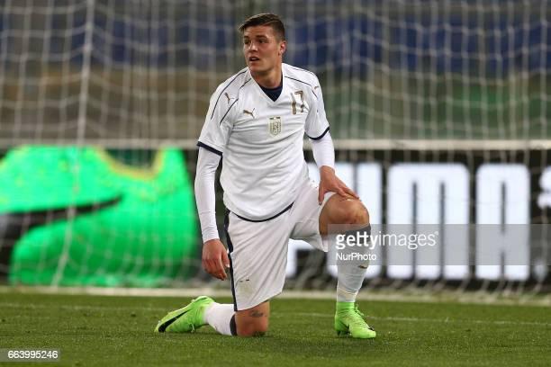 Andrea Favilli of Italy U21 reacts during the International Friendly Under 21 Italia v Spagna at Olimpico Stadium on March 27 2017 in Rome Italy
