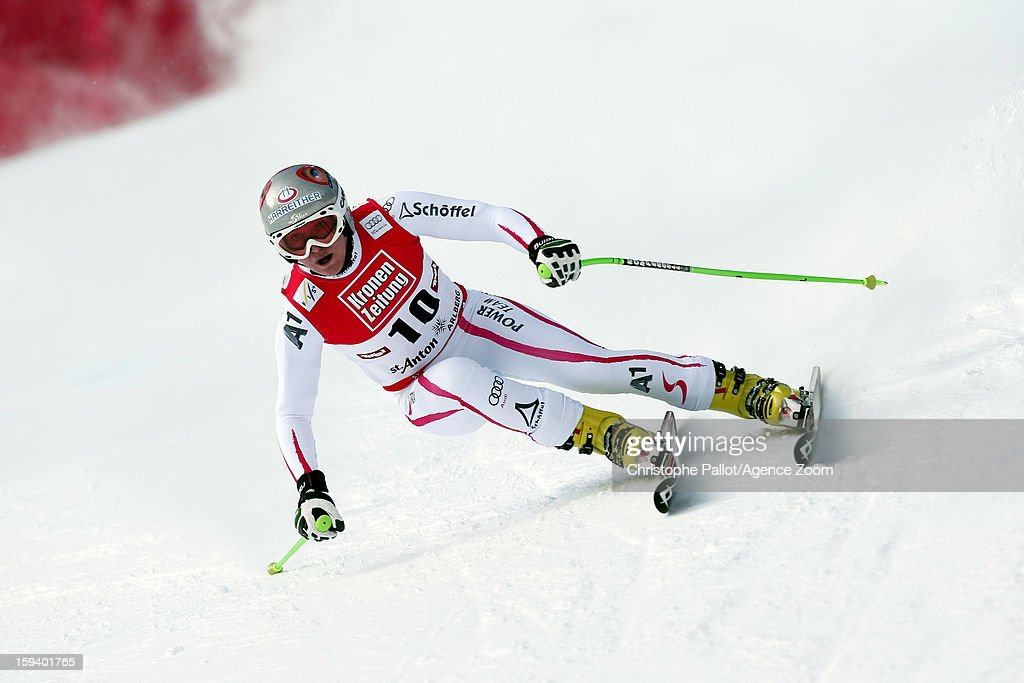 <a gi-track='captionPersonalityLinkClicked' href=/galleries/search?phrase=Andrea+Fischbacher&family=editorial&specificpeople=800274 ng-click='$event.stopPropagation()'>Andrea Fischbacher</a> of Austria competes during the Audi FIS Alpine Ski World Cup Women's SuperG on January 13, 2013 in St. Anton, Austria.