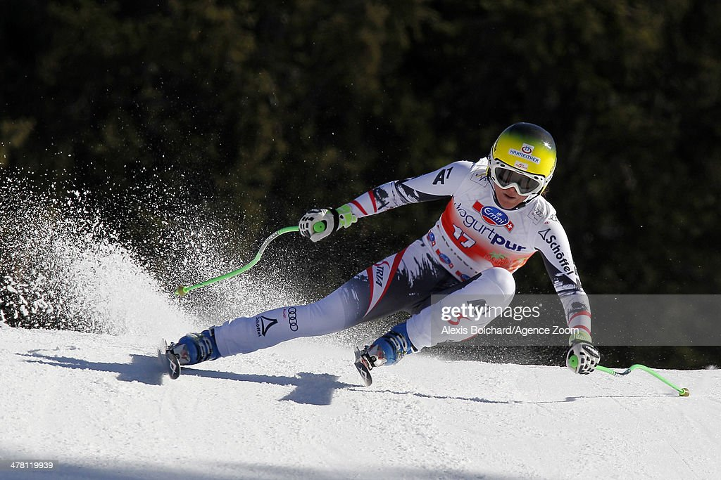 <a gi-track='captionPersonalityLinkClicked' href=/galleries/search?phrase=Andrea+Fischbacher&family=editorial&specificpeople=800274 ng-click='$event.stopPropagation()'>Andrea Fischbacher</a> of Austria competes during the Audi FIS Alpine Ski World Cup Finals Women's Downhill on March 12, 2014 in Lenzerheide, Switzerland.