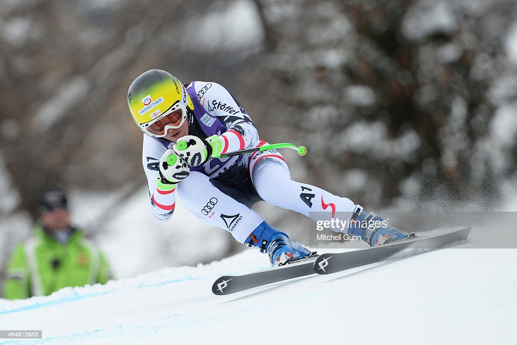 <a gi-track='captionPersonalityLinkClicked' href=/galleries/search?phrase=Andrea+Fischbacher&family=editorial&specificpeople=800274 ng-click='$event.stopPropagation()'>Andrea Fischbacher</a> of Austria competes during the FIS Alpine Ski World Cup Women's downhill race on January 24, 2014 in Cortina d'Ampezzo, Italy.