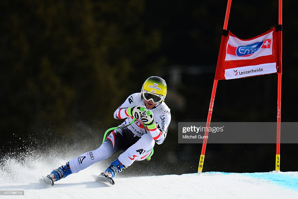 <a gi-track='captionPersonalityLinkClicked' href=/galleries/search?phrase=Andrea+Fischbacher&family=editorial&specificpeople=800274 ng-click='$event.stopPropagation()'>Andrea Fischbacher</a> of Austria competing in the Audi FIS Alpine Skiing World Cup Finals downhill training on March 11, 2014 in Lenzerheide, Switzerland.