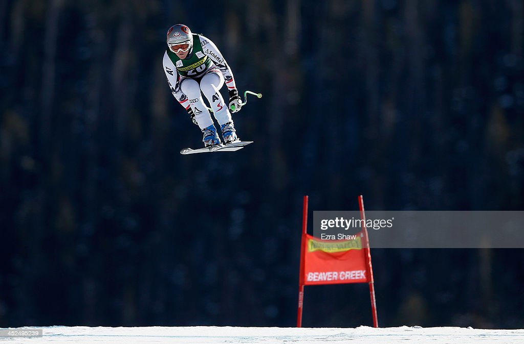 <a gi-track='captionPersonalityLinkClicked' href=/galleries/search?phrase=Andrea+Fischbacher&family=editorial&specificpeople=800274 ng-click='$event.stopPropagation()'>Andrea Fischbacher</a> of Austria in action during the FIS Beaver Creek Ladies Downhill World Cup on Raptor on November 29, 2013 in Beaver Creek, Colorado.