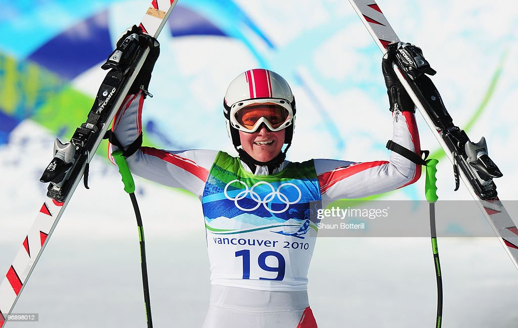<a gi-track='captionPersonalityLinkClicked' href=/galleries/search?phrase=Andrea+Fischbacher&family=editorial&specificpeople=800274 ng-click='$event.stopPropagation()'>Andrea Fischbacher</a> of Austria reacts after competing in the women's alpine skiing Super-G on day nine of the Vancouver 2010 Winter Olympics at Whistler Creekside on February 20, 2010 in Whistler, Canada.