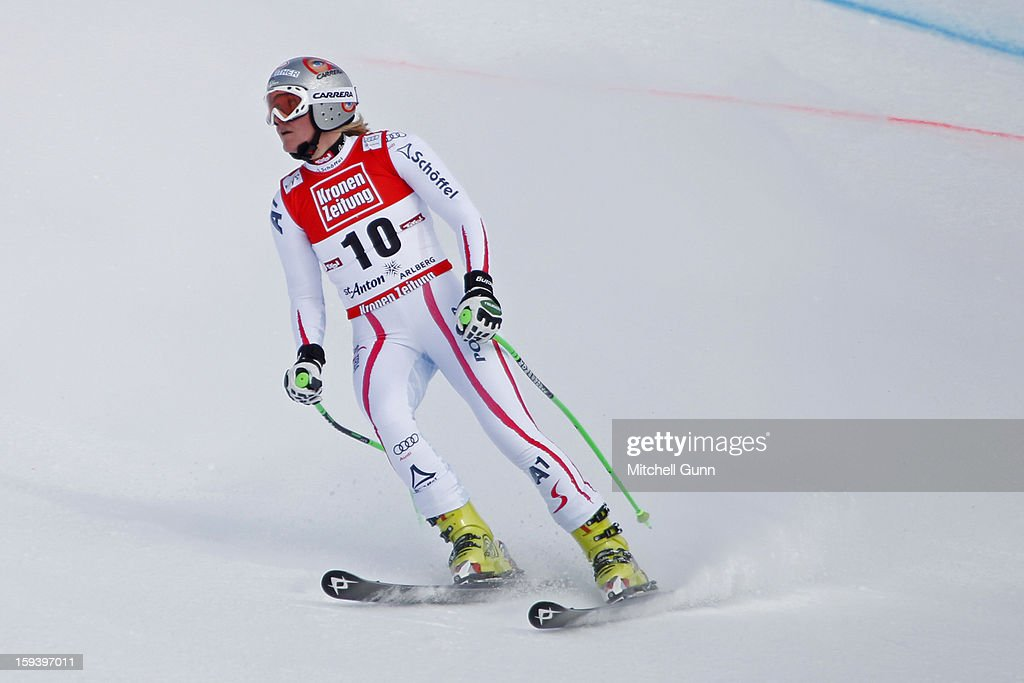 <a gi-track='captionPersonalityLinkClicked' href=/galleries/search?phrase=Andrea+Fischbacher&family=editorial&specificpeople=800274 ng-click='$event.stopPropagation()'>Andrea Fischbacher</a> of Austria reacts in the finish area after competing in the Audi FIS Alpine Ski World Cup Super Giant Slalom (SuperG) race on January 13, 2013 in St Anton, Austria.