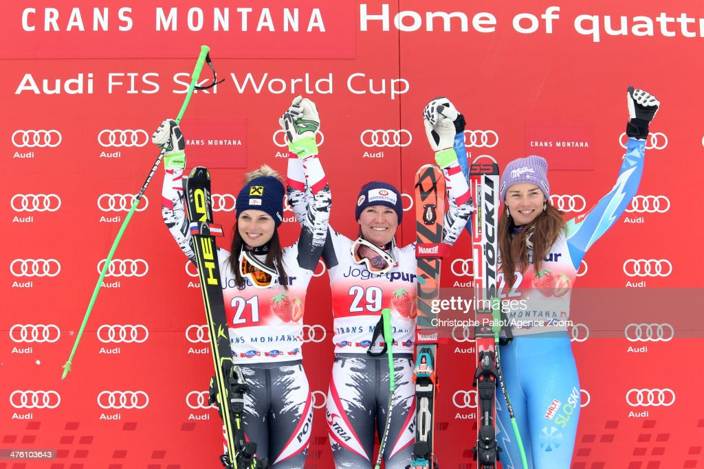 <a gi-track='captionPersonalityLinkClicked' href=/galleries/search?phrase=Andrea+Fischbacher&family=editorial&specificpeople=800274 ng-click='$event.stopPropagation()'>Andrea Fischbacher</a> of Austria takes 1st place, <a gi-track='captionPersonalityLinkClicked' href=/galleries/search?phrase=Anna+Fenninger&family=editorial&specificpeople=4045781 ng-click='$event.stopPropagation()'>Anna Fenninger</a> of Austria takes 2nd place, <a gi-track='captionPersonalityLinkClicked' href=/galleries/search?phrase=Tina+Maze&family=editorial&specificpeople=213514 ng-click='$event.stopPropagation()'>Tina Maze</a> of Slovenia takes 3rd place during the Audi FIS Alpine Ski World Cup Women's Downhill on March 02, 2014 in Crans-Montana, Switzerland.