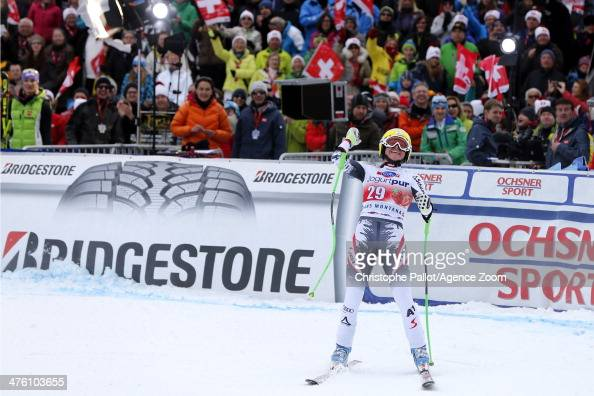 Andrea Fischbacher of Austria takes 1st place during the Audi FIS Alpine Ski World Cup Women's Downhill on March 02 2014 in CransMontana Switzerland