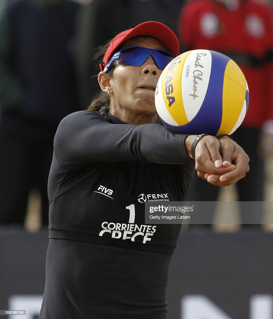 Andrea Galindo of Colombia receives the ball during a match between Colombia and Austria as part of day one of Corrientes Grand Slam of FIVB World Tour at Arazaty Beach on May 22, 2013 in Corrientes, Argentina.