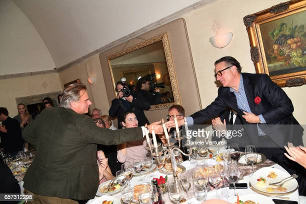 Andrea Griminelli and Andy Garcia attend AMBI GALA In Honour Of Andy Garcia And Bobby Moresco on March 23 2017 in Rome Italy