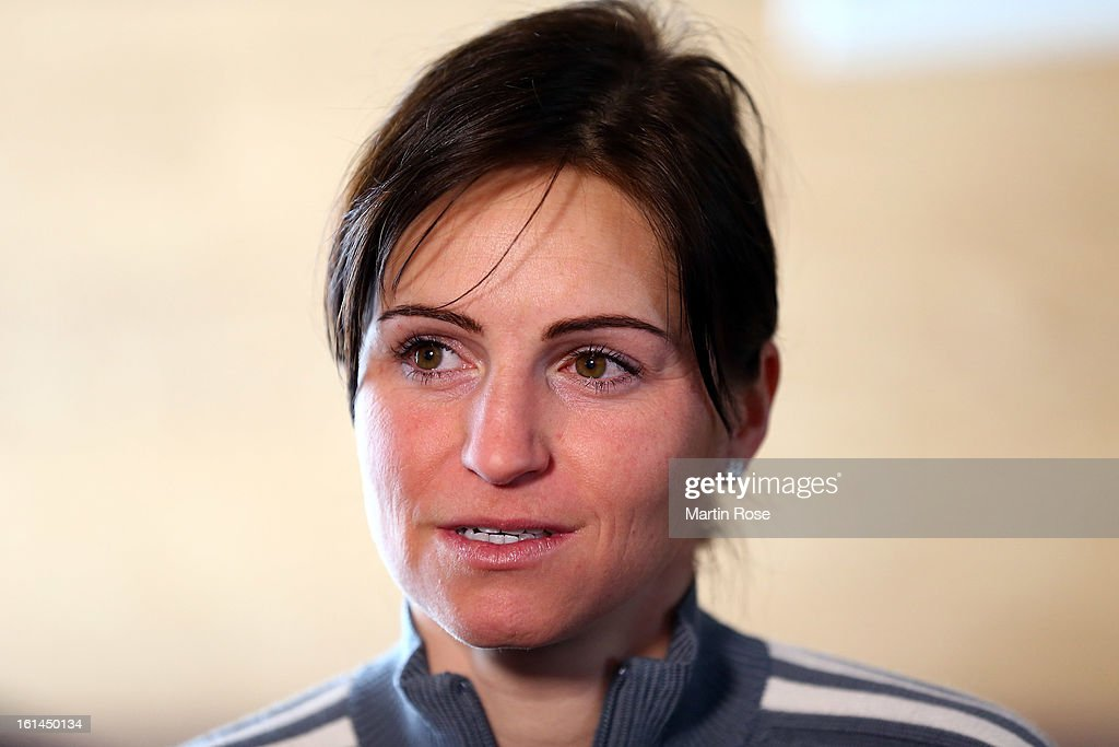Andrea Henkel attends the german media day at Lisensky Dvur Hotel on February 11, 2013 in Nove Mesto na Morave, Czech Republic.