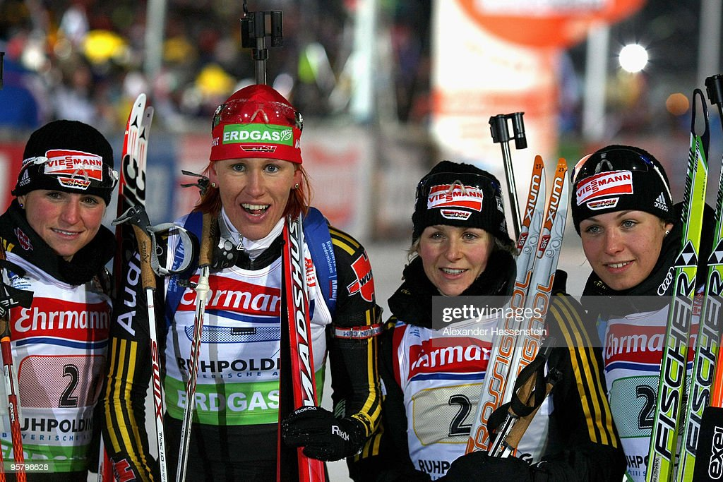 Andrea Henkel Kati Wilhelm Martina Beck and Magadalena Neuner of team Germany pose after the Women's 4 x 6km Relay in the eon Ruhrgas IBU Biathlon...