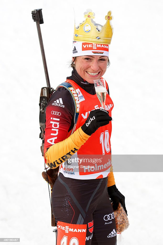 <a gi-track='captionPersonalityLinkClicked' href=/galleries/search?phrase=Andrea+Henkel&family=editorial&specificpeople=233764 ng-click='$event.stopPropagation()'>Andrea Henkel</a> of Germany celebrates after her last race before retirement during the IBU Biathlon World Cup Women's 12.5 kilometer Mass Start race on March 23, 2014 in Oslo, Norway.